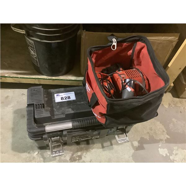 MILWAUKEE TOOL BAG & TOOLS, SMALL BLACK TOOLCHEST & CONTENTS