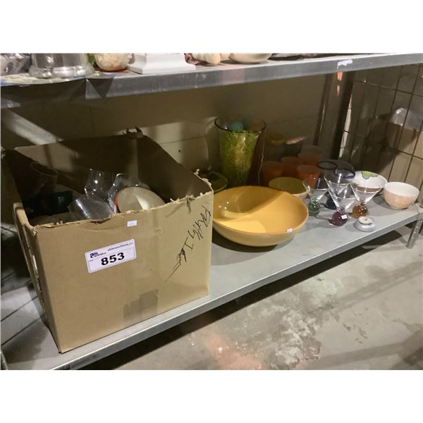 HOUSEHOLD ITEMS (ASSORTED GLASSWARE, BOWLS, DISHES, ETC)