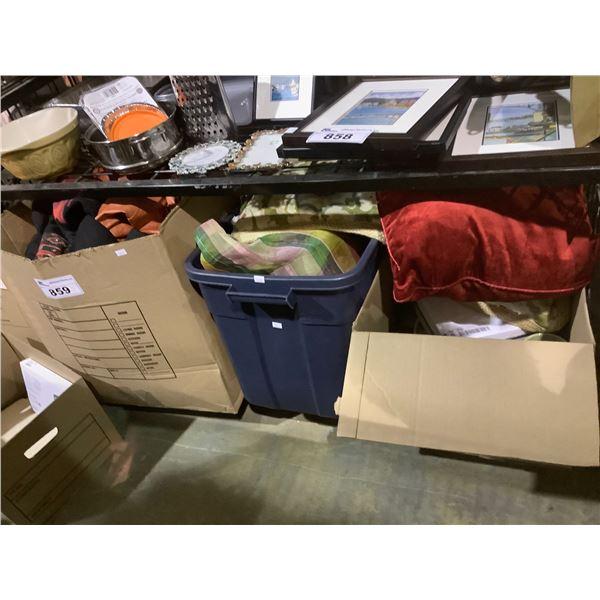 3 BOXES OF DISHWARE, LINEN, CLOTHING, ETC