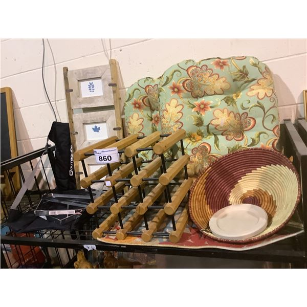 SEAT CUSHIONS, WINE RACK, PICTURE FRAME, HOUSEHOLD ITEMS, AREA RUG, ETC
