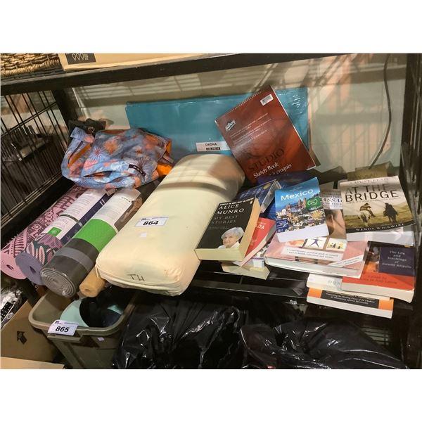 YOGA MATS, PILLOW, ASSORTED BOOKS, HAND BAG, ETC
