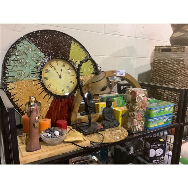FRAMED MIRROR, DECORATIVE CLOCK, CUTTING BOARD, TABLE LAMP, SWIFFER PADS, CANDLES, ETC