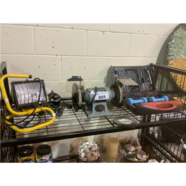WORKSHOP LIGHT, BENCH GRINDER, IRON AND CASE WITH WEIGHTS