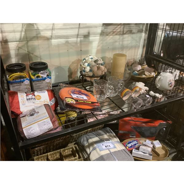 TWO FIRST AID KITS, BUNGEE CORDS, ASSORTED GLASSWARE AND HOUSEHOLD GOODS