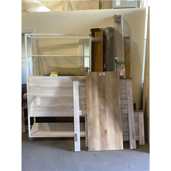 WOOD BED FRAME PARTS, SHELVING UNIT AND BLINDS