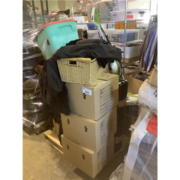 PALLET OF HOUSEHOLD ITEMS, FURNITURE, CLOTHING, MISC