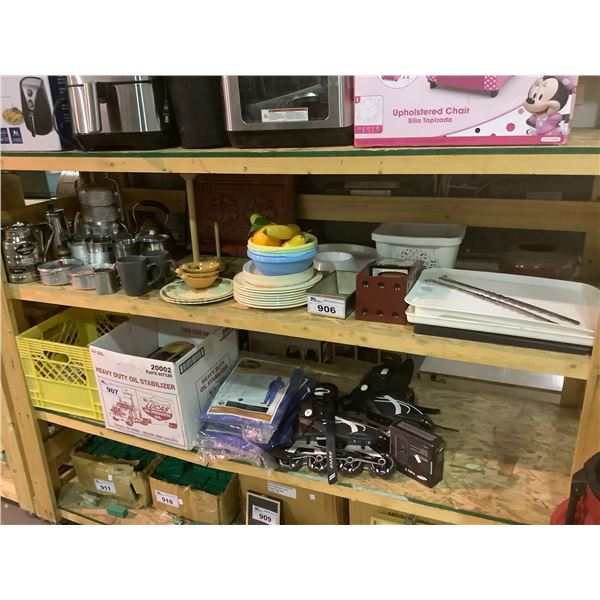 KITCHENWARE (PLATES, CUPS, TRAYS, FAUX FRUIT, ETC)
