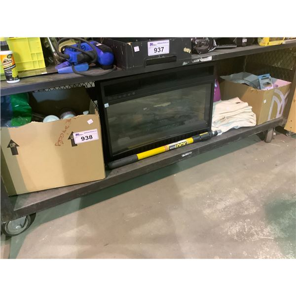 ELECTRIC FIREPLACE INSERT, HOUSEHOLD ITEMS, CURTAINS, TOILET PAPER, CLEANING SUPPLY