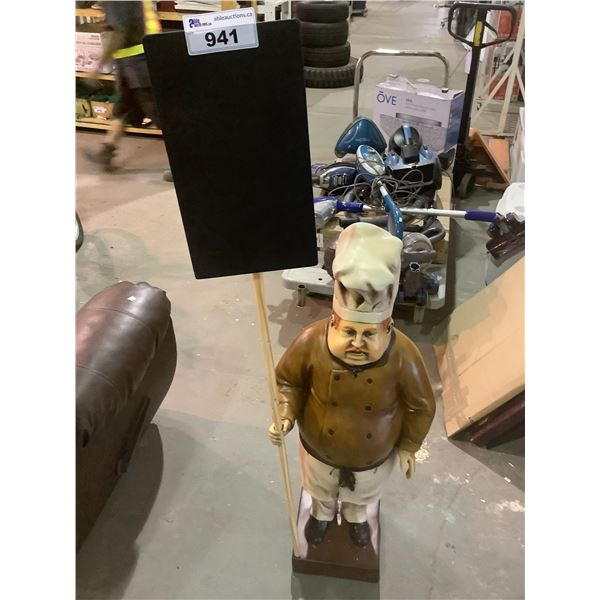 """CHEF FIGURE WITH CHALK BOARD SIGN 44"""" TALL (59"""" WITH SIGN)"""