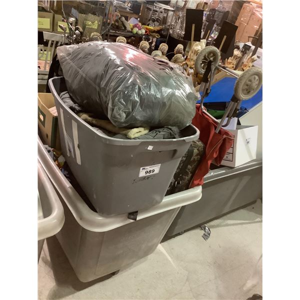 BIN OF ASSORTED CLOTHING, LUGGAGE BAGS ETC (BIN NOT INCLUDED)