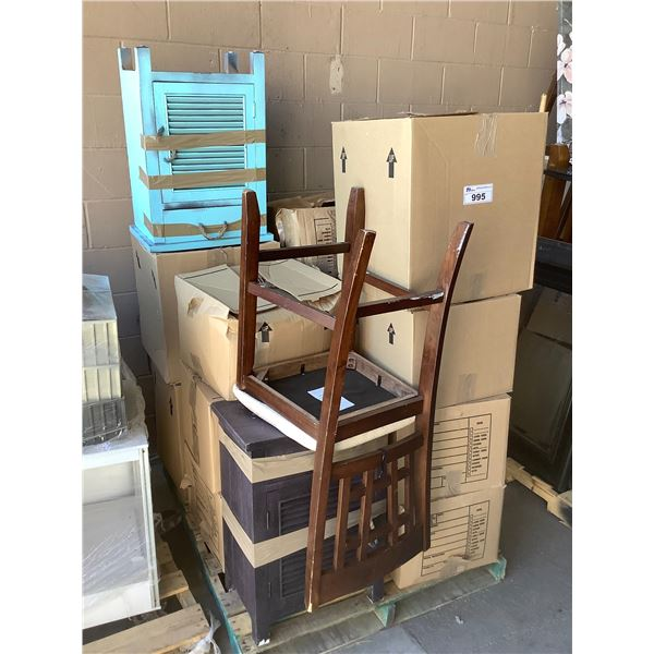 PALLET OF HOUSEHOLD ITEMS, FURNITURE, MISC