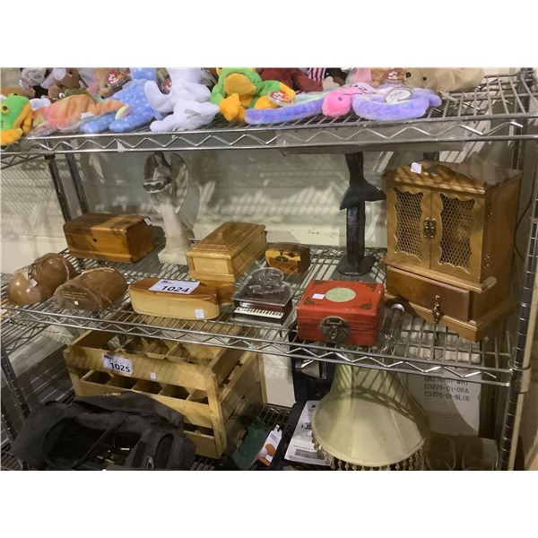 ASSORTED WOOD CARVED STORAGE BOXES, MINI MUSICAL PIANO, DOMINOS, ETC