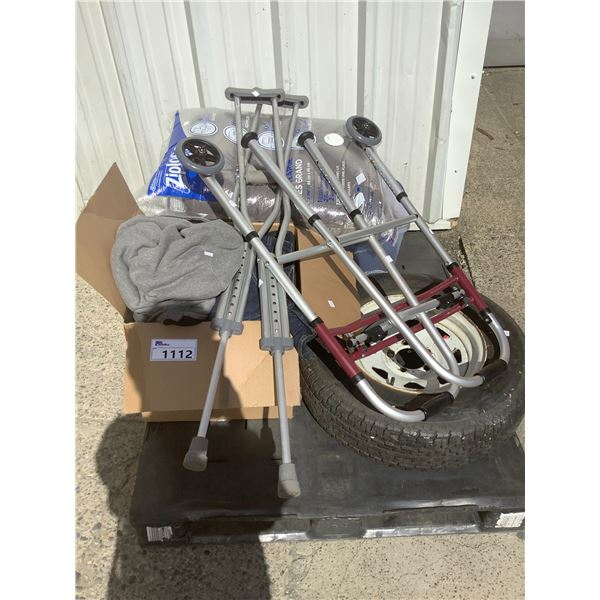 PALLET OF MISC (CRUTCHES, TIRE, MEDICAL CART, CLOTHING, ETC)