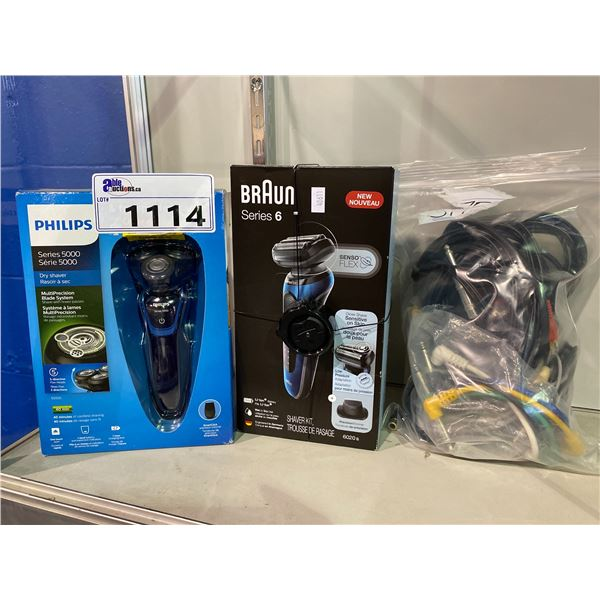 BRAUN SERIES 6 SHAVER KIT, PHILIPS SERIES 5000 DRY SHAVER AND BAG OF CABLES