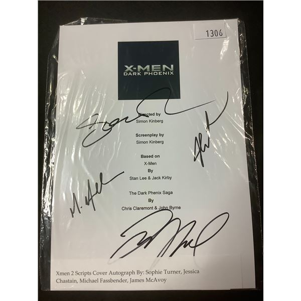 AUTOGRAPHED XMEN 2 SCRIPT COVER WITH COA (SIGNED BY SOPHIE TURNER, JESSICA CHASTAIN,