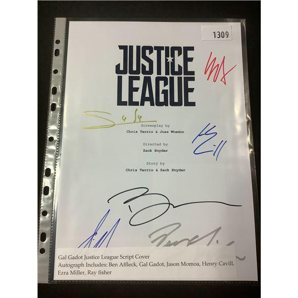 AUTOGRAPHED GAL GADOT JUSTICE LEAGUE SCRIPT COVER WITH COA (SIGNED BY BEN AFFLECK, GAL GADOT, JASON