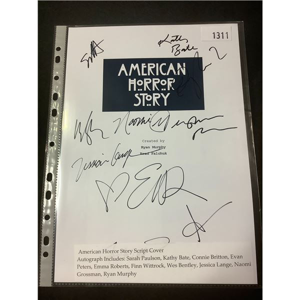 AUTOGRAPHED AMERICAN HORROR STORY SCRIPT COVER WITH COA (SIGNED BY SARAH PAULSON, KATHY BATE, CONNIE