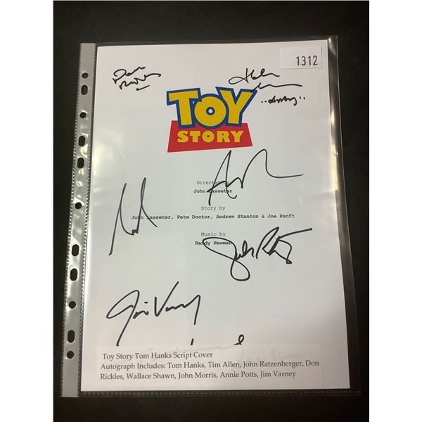 AUTOGRAPHED TOY STORY SCRIPT COVER WITH COA (SIGNED BY TOM HANK, TIM ALLEN, JOHN RATZENBERGER, DON