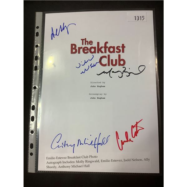 AUTOGRAPHED THE BREAKFAST CLUB SCRIPT COVER WITH COA (SIGNED BY MOLLY RINGWALD, EMILIO ESTEVEZ, JUDD