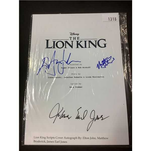 AUTOGRAPHED LION KING SCRIPT COVER WITH COA (SIGNED BY ELTON JOHN, MATTHEW BRODERICK,
