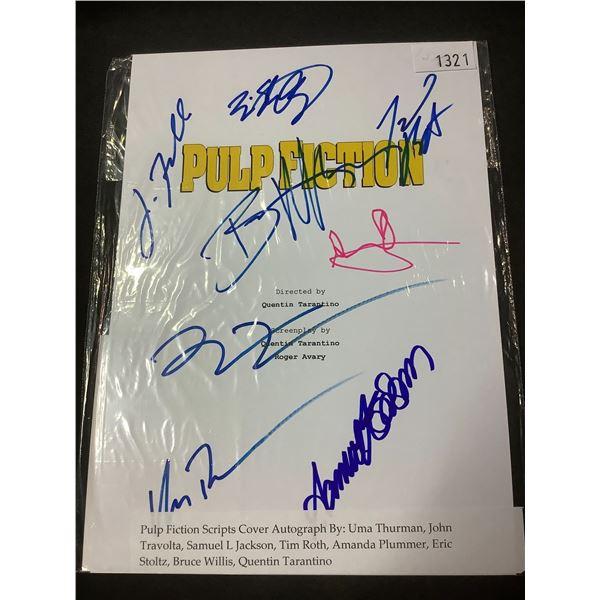 AUTOGRAPHED PULP FICTION SCRIPT COVER WITH COA (SIGNED BY UMA THURMAN, JOHN TRAVOLTA,
