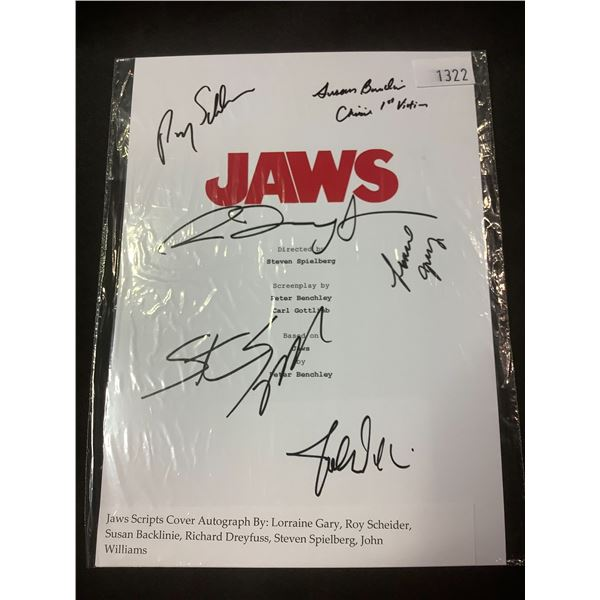 AUTOGRAPHED JAWS SCRIPT COVER WITH COA (SIGNED BY LORRAINE GARY, ROY SCHEIDER, SUSAN BACKLINIE,