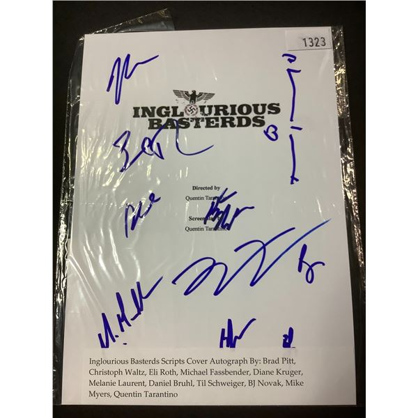 AUTOGRAPHED INGLORIOUS BASTERDS SCRIPT COVER WITH COA (SIGNED BY BRAD PITT, CHRISTOPH WALTZ, ELI