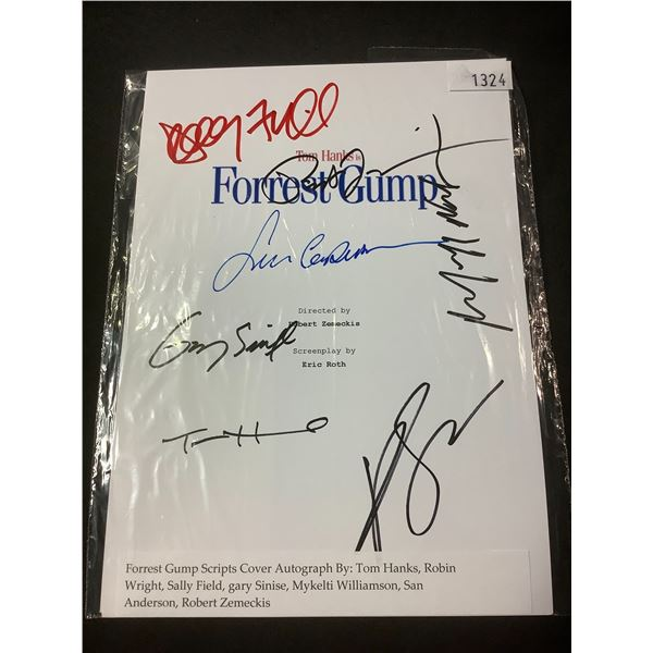 AUTOGRAPHED FORREST GUMP SCRIPT COVER WITH COA (SIGNED BY TOM HANKS, ROBIN WRIGHT, SALLY FIELD,