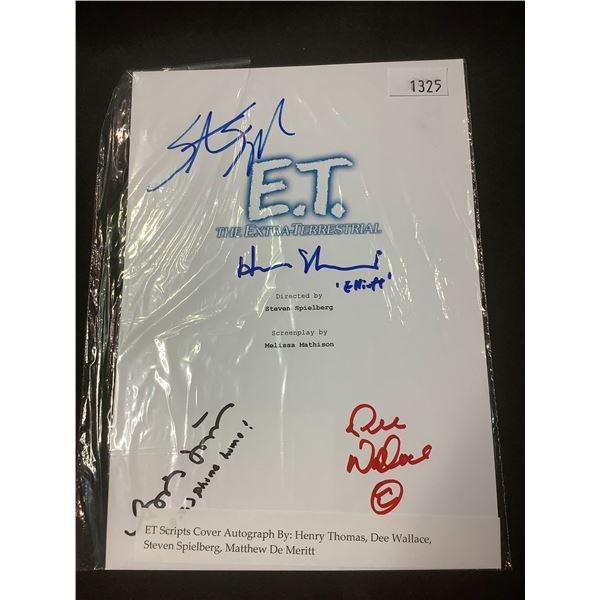 AUTOGRAPHED E.T. SCRIPT COVER WITH COA (SIGNED BY HENRY THOMAS, DEE WALLACE, STEVEN SPIELBERG,