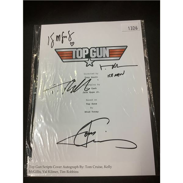 AUTOGRAPHED TOP GUN SCRIPT COVER WITH COA (SIGNED BY TOM CRUISE, KELLY MCGILLIS, VAL KILMER, TIM