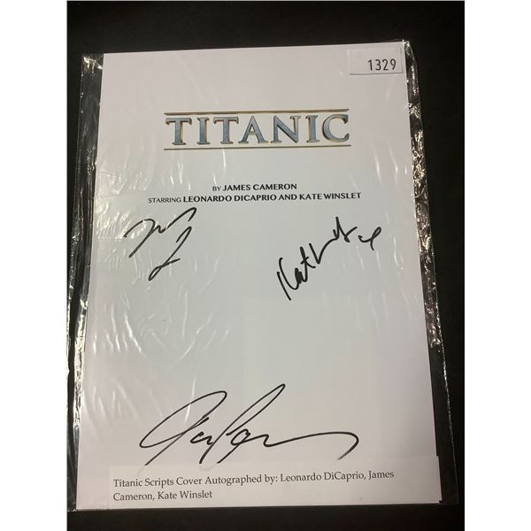 AUTOGRAPHED TITANIC SCRIPT COVER WITH COA (SIGNED BY LEONARDO DICAPRIO, JAMES CAMERON, KATE WINSLET)