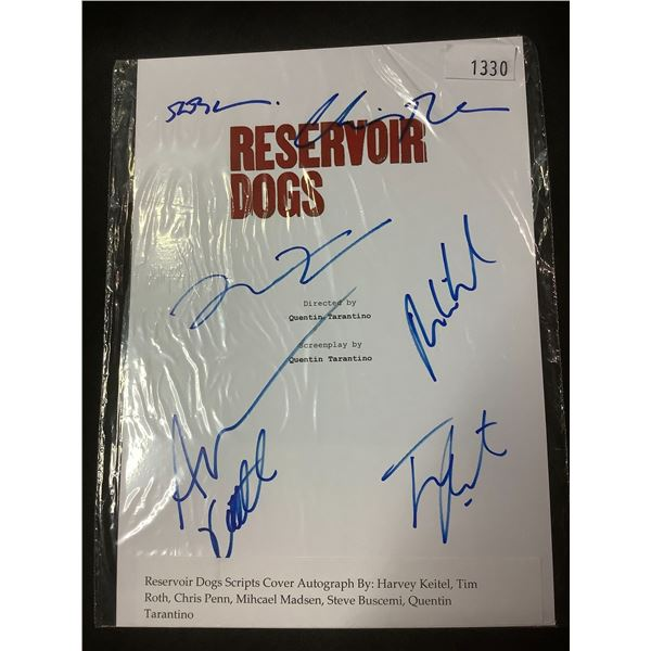 AUTOGRAPHED RESERVOIR DOGS SCRIPT COVER WITH COA (SIGNED BY HARVEY KEITEL, TIM ROTH, CHRIS PENN,