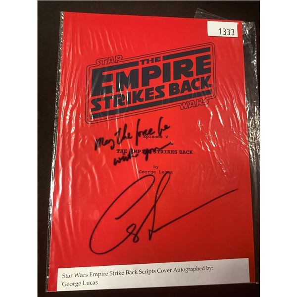 AUTOGRAPHED STAR WARS EMPIRE STRIKES BACK SCRIPT COVER WITH COA (SIGNED BY GEORGE LUCAS)