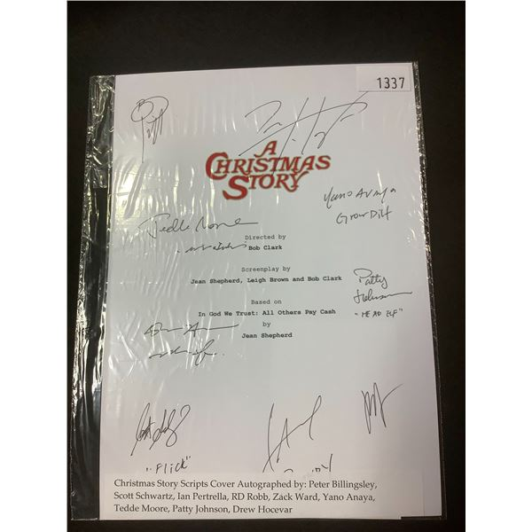 AUTOGRAPHED A CHRISTMAS STORY SCRIPT COVER WITH COA (SIGNED BY PETER BILLINGSLEY, SCOTT SCHWARTZ,