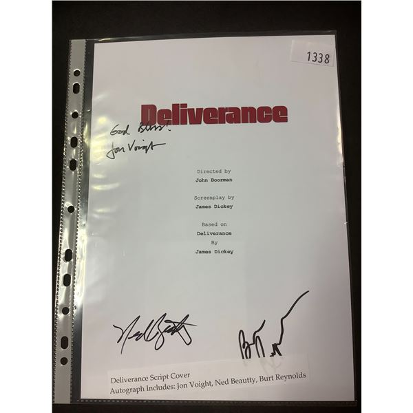 AUTOGRAPHED DELIVERANCE SCRIPT COVER WITH COA (SIGNED BY JON VOIGHT, NED BEAUTTY, BURT REYNOLDS)