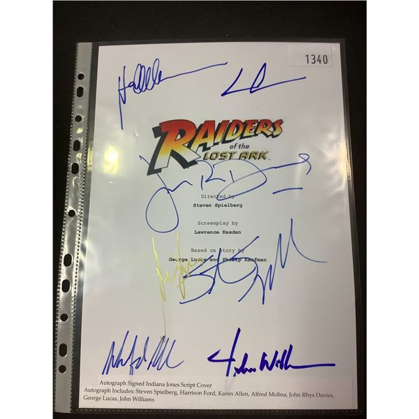 AUTOGRAPHED RAIDERS OF THE LOST ARK SCRIPT COVER WITH COA (SIGNED BY STEVEN SPIELBERG,