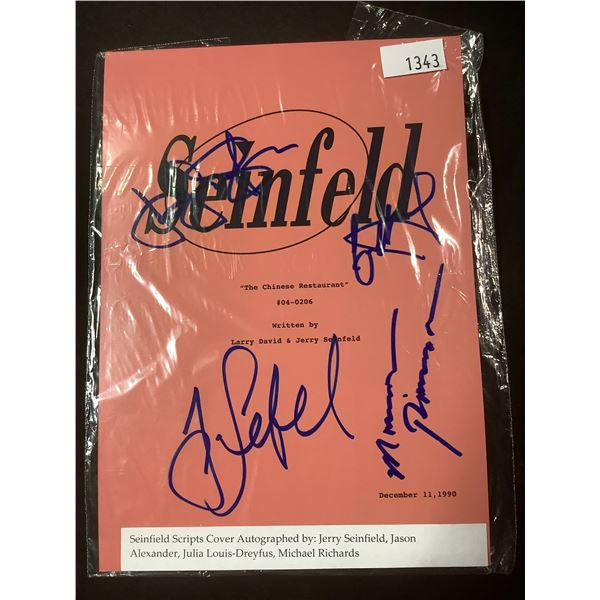 AUTOGRAPHED SEINFELD SCRIPT COVER WITH COA (SIGNED BY JERRY SEINFELD, JASON ALEXANDER, JULIA