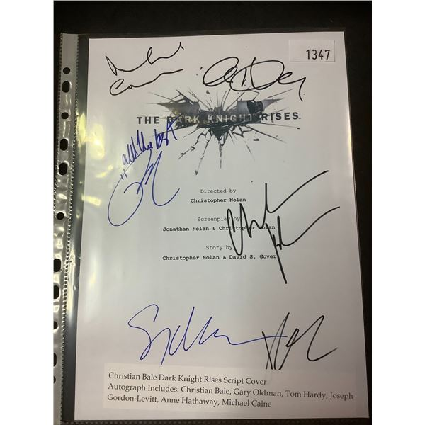 AUTOGRAPHED THE DARK KNIGHT RISES SCRIPT COVER WITH COA (SIGNED BY CHRISTIAN BALE, GARY OLDMAN, TOM