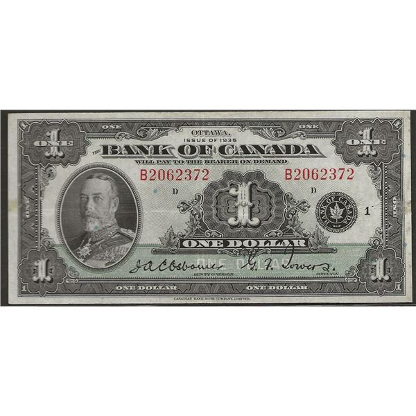 Canada BC-1 1935 $1 EF (pinholes) RAW