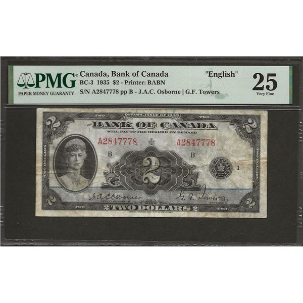 Canada BC-3 1935 $2 VF25 PMG