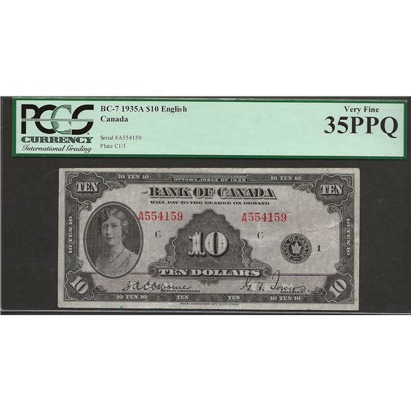 Canada BC-7 1935 $10 VF35PPQ PCGS