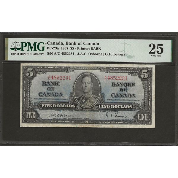 Canada BC-23a 1937 $5 OSBORNE VF25 PMG