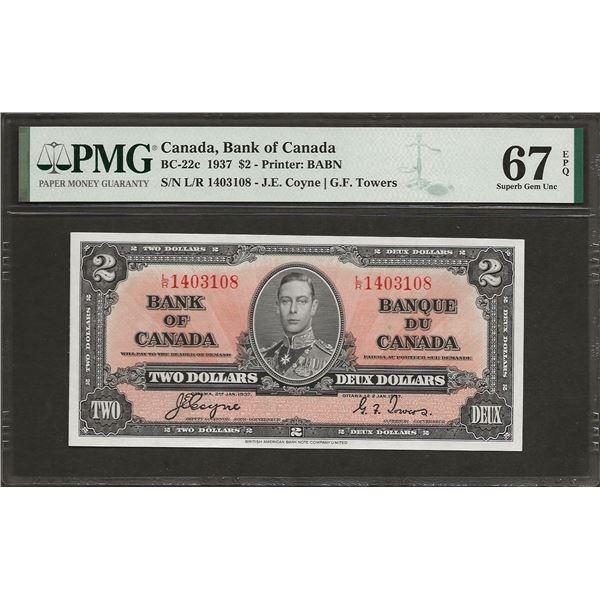 Canada BC-22c 1937 $2 SUPGEM67EPQ PMG