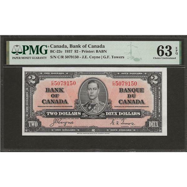 Canada BC-22c 1937 $2 CHUNC63EPQ PMG