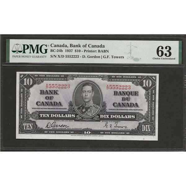 Canada BC-24b 1937 $10 CHUNC63 PMG
