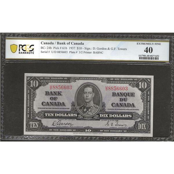 Canada BC-24b 1937 $10 EF40 PMG