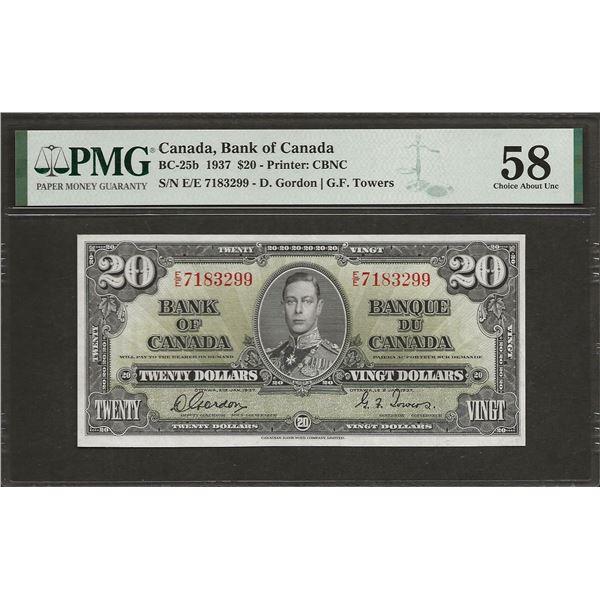 Canada BC-25b 1937 $20 AU58 PMG