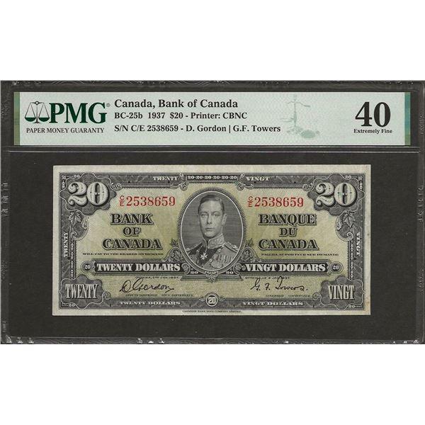 Canada BC-25b 1937 $20 EF40 PMG