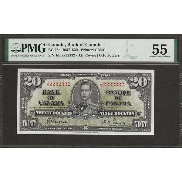 Canada BC-25c 1937 $20 AU55 PMG