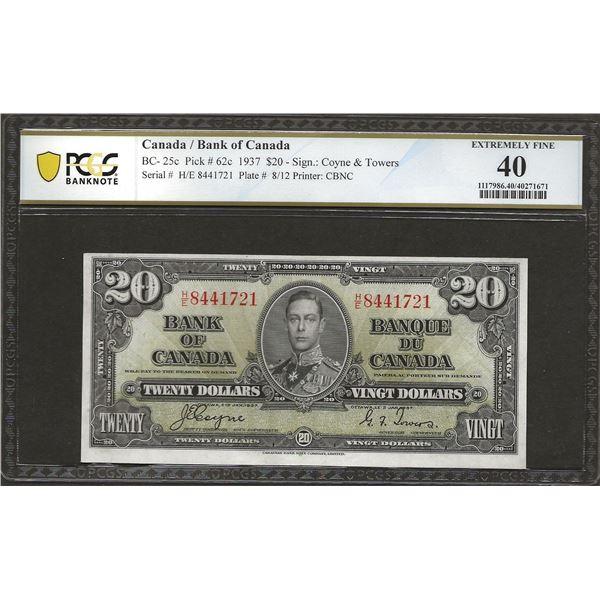 Canada BC-25c 1937 $20 H/E Prefix EF40 PMG